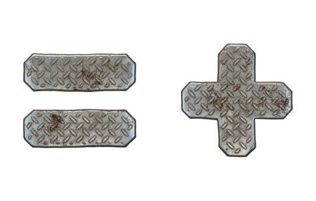 Set of symbols equals and plus made of industrial metal on white background 3d rendering Stockfoto