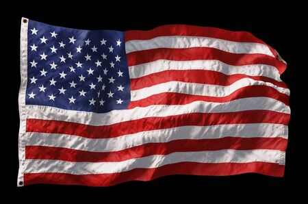 American flag waving in the wind isolated on black background. 3D rendering Banco de Imagens