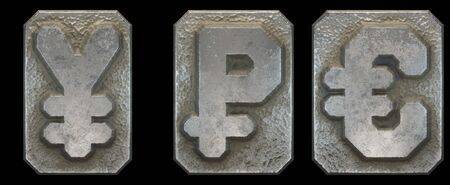 Set of symbols yen, rouble and euro made of industrial metal on black background 3d rendering