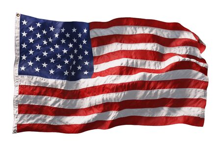 American flag waving in the wind isolated on white background. 3D rendering Foto de archivo