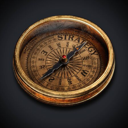 Vintage compass isolated on black background. Close up view 3d rendering