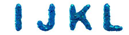 Plastic letters set I, J, K, L made of 3d render plastic shards blue color isolated on white.