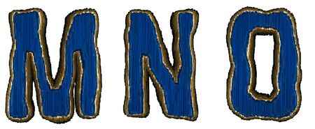 Set of alphabet letters M, N, O made of industrial metal blue color. Isolated white background. 3d rendering
