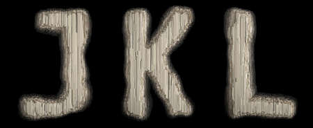 Set of industrial metal alphabet letter J, K, L on black background. 3d rendering
