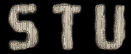 Set of industrial metal alphabet letter S, T, U on black background. 3d rendering