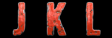 Set of letters J, K, L made of red painted metal isolated on black background. 3d rendering Stock fotó