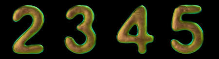 Set of numbers 2, 3, 4, 5 made of realistic 3d render gold color. Collection of natural snake skin texture style symbol isolated on black background
