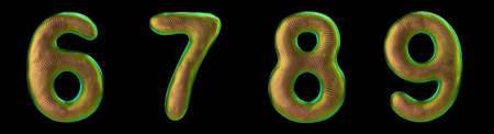 Set of numbers 6, 7, 8, 9 made of realistic 3d render gold color. Collection of natural snake skin texture style symbol isolated on black background Stok Fotoğraf