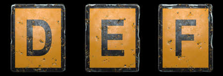 Set of capital letter D, E, F made of public road sign orange and black color on black background. 3d rendering