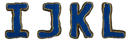 Set of alphabet letters I, J, K, L made of industrial metal blue color. Isolated white background. 3d rendering Reklamní fotografie