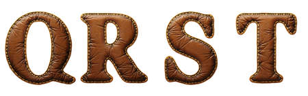 Set of leather letters Q, R, S, T uppercase. 3D render font with skin texture isolated on white background. 3d rendering
