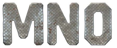 Set of capital letters M, N, O made of industrial metal isolated on white background. 3d rendering