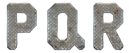 Set of capital letters P, Q, R made of industrial metal isolated on white background. 3d rendering Stock Photo