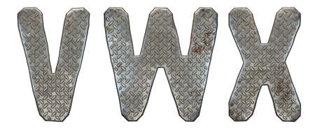 Set of capital letters V, W, X made of industrial metal isolated on white background. 3d rendering
