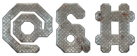Set of symbols at, ampersand and hash made of industrial metal on white background 3d rendering Stock Photo