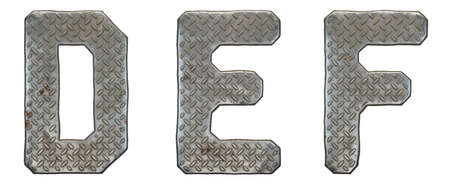 Set of capital letters D, E, F made of industrial metal isolated on white background. 3d rendering