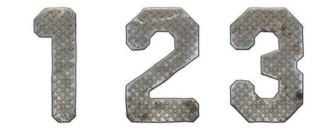 Set of numbers 1, 2, 3 made of industrial metal on white background 3d rendering Stock Photo