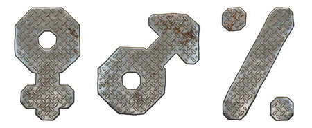 Set of symbols female, male, percent made of industrial metal on white background 3d rendering