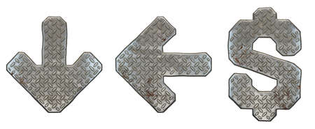 Set of symbols arrow to down, left arrow, dollar made of industrial metal on white background 3d rendering Stock Photo