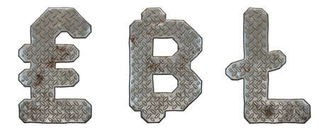 Set of symbols lira, litecoin and dashcoin made of industrial metal on white background 3d rendering