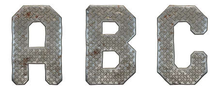 Set of capital letters A, B, C made of industrial metal isolated on white background. 3d rendering Stock Photo