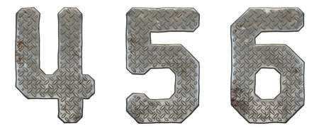 Set of numbers 4, 5, 6 made of industrial metal on white background 3d rendering