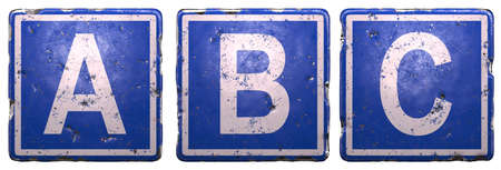 Set of public road sign in blue color with a capital white letters A, B, C in the center isolated on white background. 3d rendering Stock Photo