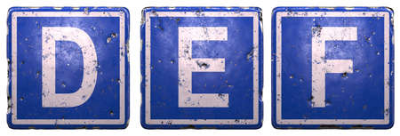 Set of public road sign in blue color with a capital white letters D, E, F in the center isolated on white background. 3d rendering