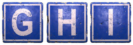 Set of public road sign in blue color with a capital white letters G, H, I in the center isolated on white background. 3d rendering