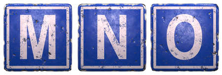 Set of public road sign in blue color with a capital white letters M, N, O in the center isolated on white background. 3d rendering
