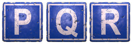 Set of public road sign in blue color with a capital white letters P, Q, R in the center isolated on white background. 3d rendering Stock Photo