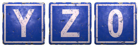 Set of public road sign in blue color with a capital white letters Y, Z and number 0 in the center isolated on white background. 3d rendering Stock Photo