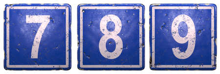 Set of public road sign in blue color with a white numbers 7, 8, 9 in the center isolated on white background. 3d rendering
