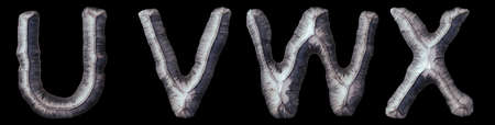 Set of capital letters U, V, W, X made of forged metal isolated on black background. 3d rendering