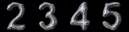 Set of numbers 2, 3, 4, 5 made of forged metal isolated on black background. 3d rendering Stock Photo