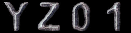 Set of capital letters Y, Z and number 0, 1 made of forged metal isolated on black background. 3d rendering
