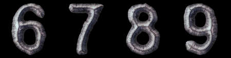 Set of numbers 6, 7, 8, 9 made of forged metal isolated on black background. 3d rendering