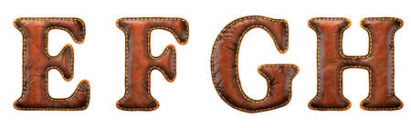 Set of leather letters E, F, G, H uppercase. 3D render font with skin texture isolated on white background. 3d rendering