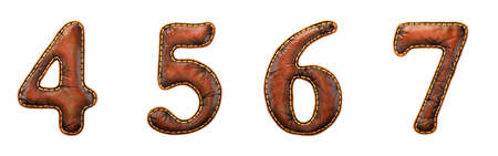 Set of numbers 4, 5, 6, 7 made of leather. 3D render font with skin texture isolated on white background. 3d rendering Stock Photo