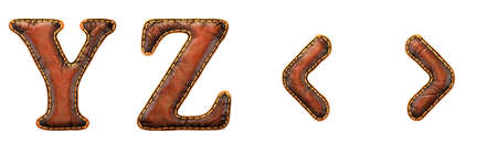 Set of leather letters Y, Z and symbol left, right angle bracket uppercase. 3D render font with skin texture isolated on white background. 3d rendering Stock Photo