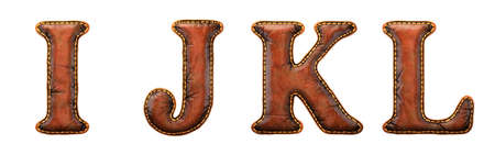 Set of leather letters I, J, K, L uppercase. 3D render font with skin texture isolated on white background. 3d rendering Stock Photo