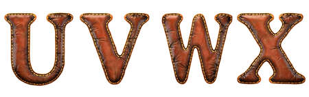 Set of leather letters U, V, W, X uppercase. 3D render font with skin texture isolated on white background. 3d rendering Stock Photo