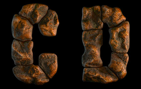 Set of rocky letters C, D. Font of stone on black background. 3d rendering