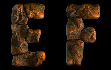 Set of rocky letters E, F. Font of stone on black background. 3d rendering Stock Photo