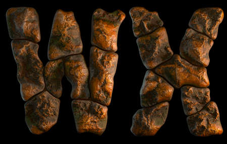 Set of rocky letters W, X. Font of stone on black background. 3d rendering Stock Photo