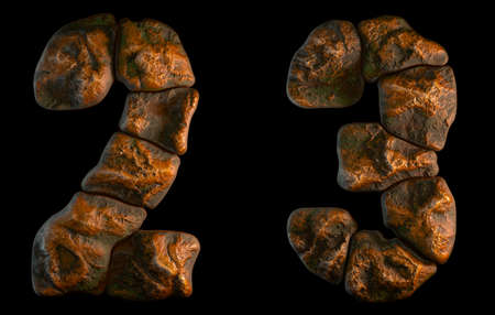 Set of rocky numbers 2, 3. Font of stone on black background. 3d rendering Stock Photo
