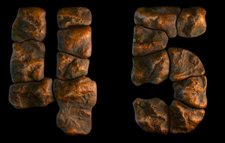 Set of rocky numbers 4, 5. Font of stone on black background. 3d rendering