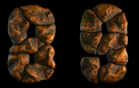 Set of rocky numbers 8, 9. Font of stone on black background. 3d rendering