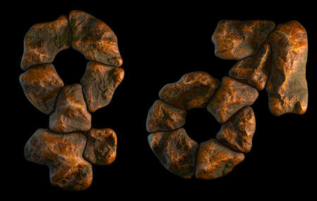 Set of rocky symbols female and male. Font of stone on black background. 3d rendering