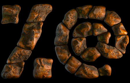 Set of rocky symbols percent and at. Font of stone on black background. 3d rendering